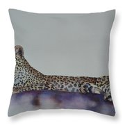 Leopard On Rock Throw Pillow