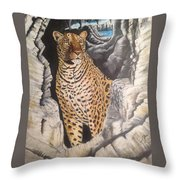 Leopard On The Rocks Throw Pillow