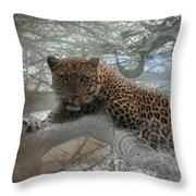 Leopard Tree Hugger Photo Collage Throw Pillow
