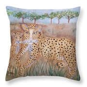 Leopard With Cub Throw Pillow