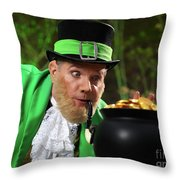 Leprechaun With Pot Of Gold Throw Pillow