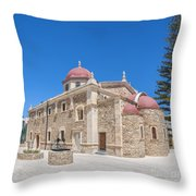 Lerapetra Church Of Saint George Panorama Throw Pillow