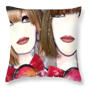 Les Filles Rouget Throw Pillow