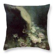 Les Fleurs Du Sommeil Throw Pillow by Achille Theodore Cesbron