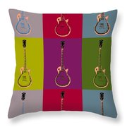 Les Paul Colorful Poster Throw Pillow