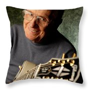 Les Paul With His White Gibson Les Paul Custom Guitar By Gene Martin Throw Pillow