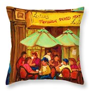 Lesters Monsieur Smoked Meat Throw Pillow