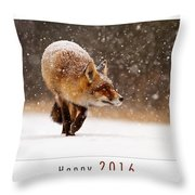 Let It Snow 4 - New Years Card Red Fox In The Snow Throw Pillow