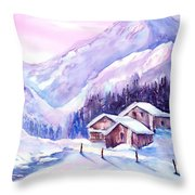 Swiss Mountain Cabins In Snow Throw Pillow
