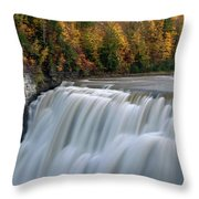 Letchworth Falls Sp Middle Falls Throw Pillow