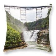 Letchworth Upper Falls Throw Pillow by Michael Chatt