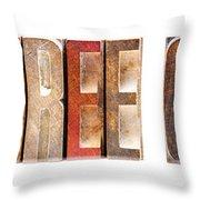 Leterpress Wood Blocks Spelling Life Free Or Die Throw Pillow