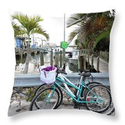 Let's Bike There Throw Pillow