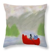 Let's Go Canoeing  Throw Pillow
