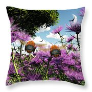 Two Bumblebees Discover The World Throw Pillow