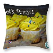 Let's Party Cupcakes Throw Pillow