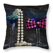 Lets Party Vintage Blue Martini Glasses On Black Sla Throw Pillow