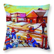 Lets Play Hockey Throw Pillow