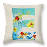 Letter E - Roman Alphabet - A Floral Expression, Typography Art Throw Pillow