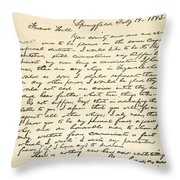 Letter From Abraham Lincoln To Alden Throw Pillow