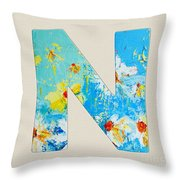 Letter N Roman Alphabet - A Floral Expression, Typography Art Throw Pillow