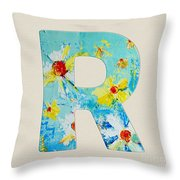 Letter R Roman Alphabet - A Floral Expression, Typography Art Throw Pillow