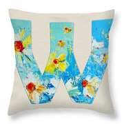 Letter W Alphabet A Floral Expression Throw Pillow