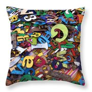 Letters And Numbers Throw Pillow