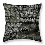 Letters And Numbers Grey On Black Throw Pillow