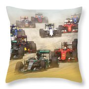Lewis Hamilton Leads The Pack Throw Pillow