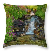 Lewis Monkey Flowers And Cascade Throw Pillow