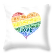 Lgbt Rainbow Hearth Flag Illustrated With Love Word Of Different Languages Throw Pillow