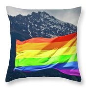 Lgbtq Rainbow Flag With Snowy Mountain Background View Throw Pillow