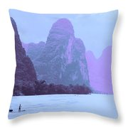 Li River Boaters Throw Pillow