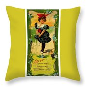 Libbys Bookmark Vintage With Girl On Beach Throw Pillow