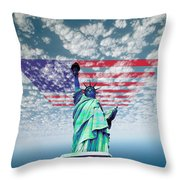 Liberty And Flag Throw Pillow