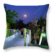 Liberty Bridge At Night Greenville South Carolina Throw Pillow