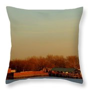 Liberty Island And The Statue Throw Pillow