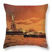 Liberty Island- New York Throw Pillow