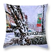 Liberty Square In Winter Throw Pillow