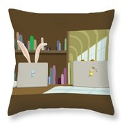 Library And Laptops Throw Pillow