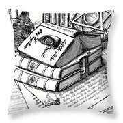 Library Book Fairy House Throw Pillow