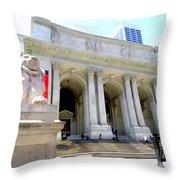 Library Lion Throw Pillow