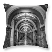 Library Of Congress Building Hallway Bw Throw Pillow