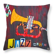 License Plate Art Jazz Series Number One Trumpet Throw Pillow