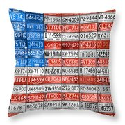 License Plate Flag Of The United States Throw Pillow by Design Turnpike