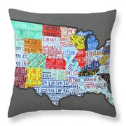 License Plate Map Of The United States Edition 2016 On Steel Background Throw Pillow