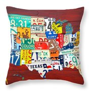 License Plate Map Of The United States - Midsize Throw Pillow