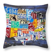 License Plate Map Of The Usa On Blue Wood Boards Throw Pillow