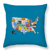 License Plate Map Of The Usa On Royal Blue Throw Pillow